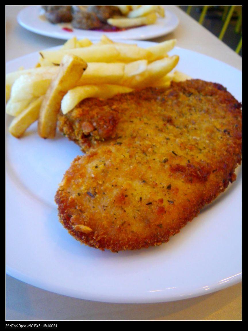 Chicken schnitzel with chips ($4.95)
