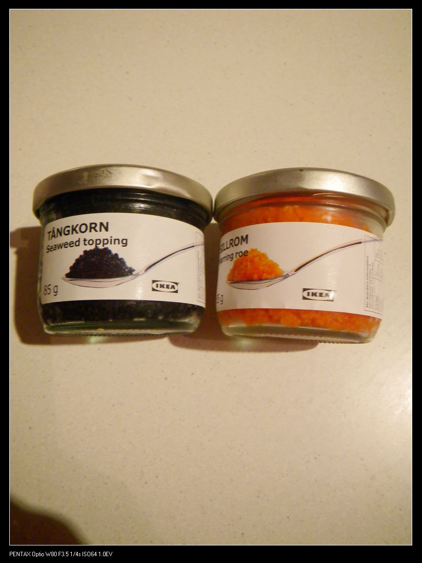 Tangkorn seaweed topping (left $5.95) and Sillrom Herring Roe (right $5.95)