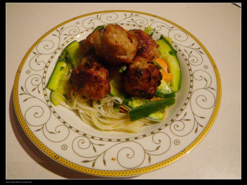 Pork balls with rice vermicelli salad