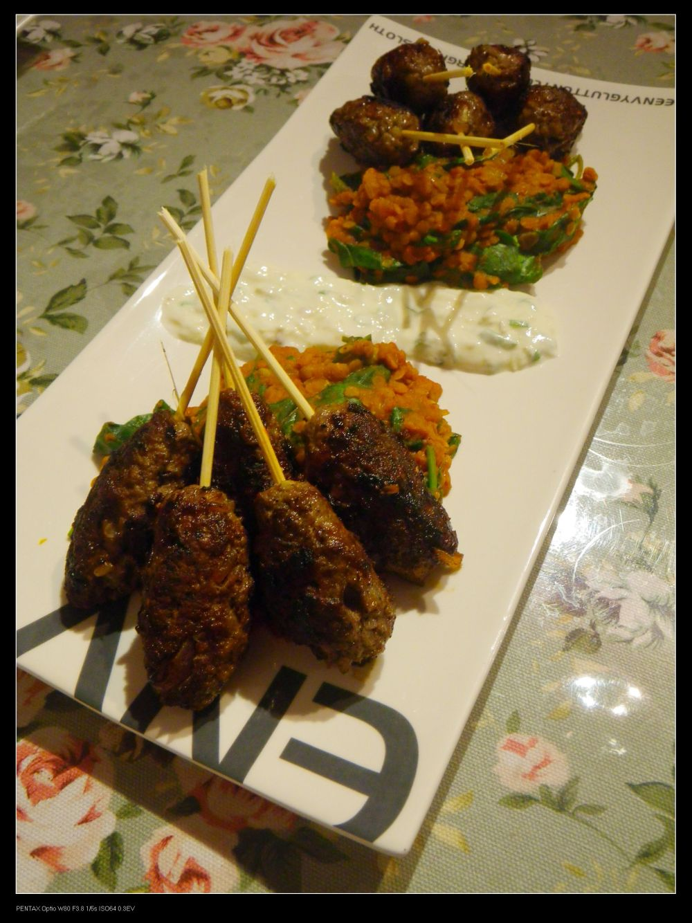 Lamb Koftas with lentil and spinach dahl