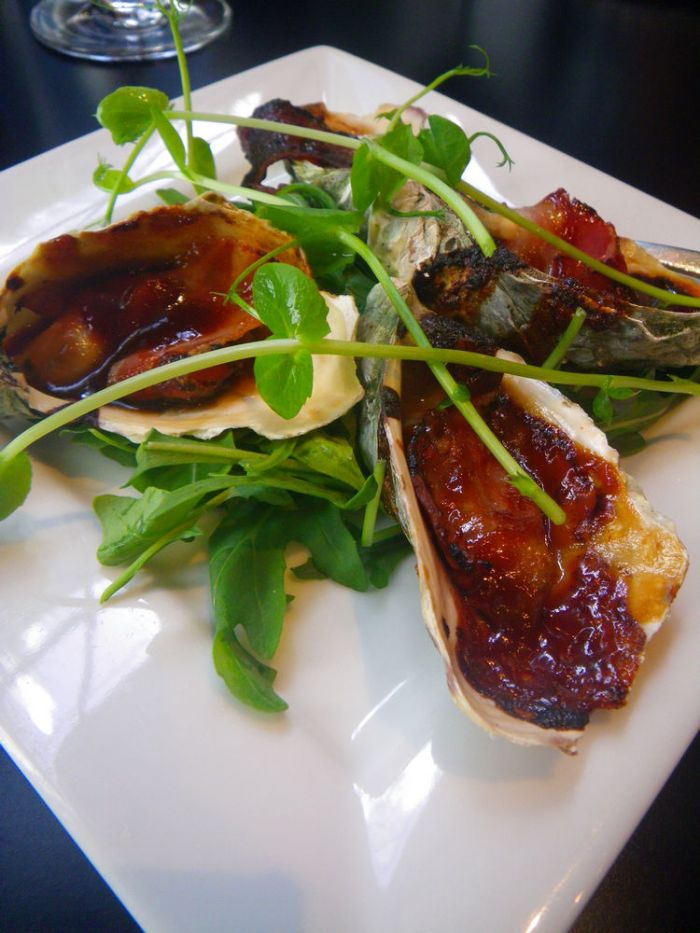 Oyster Kilpatrick, with shaved smoked speck and spicy bbq sauce  $9 for 4