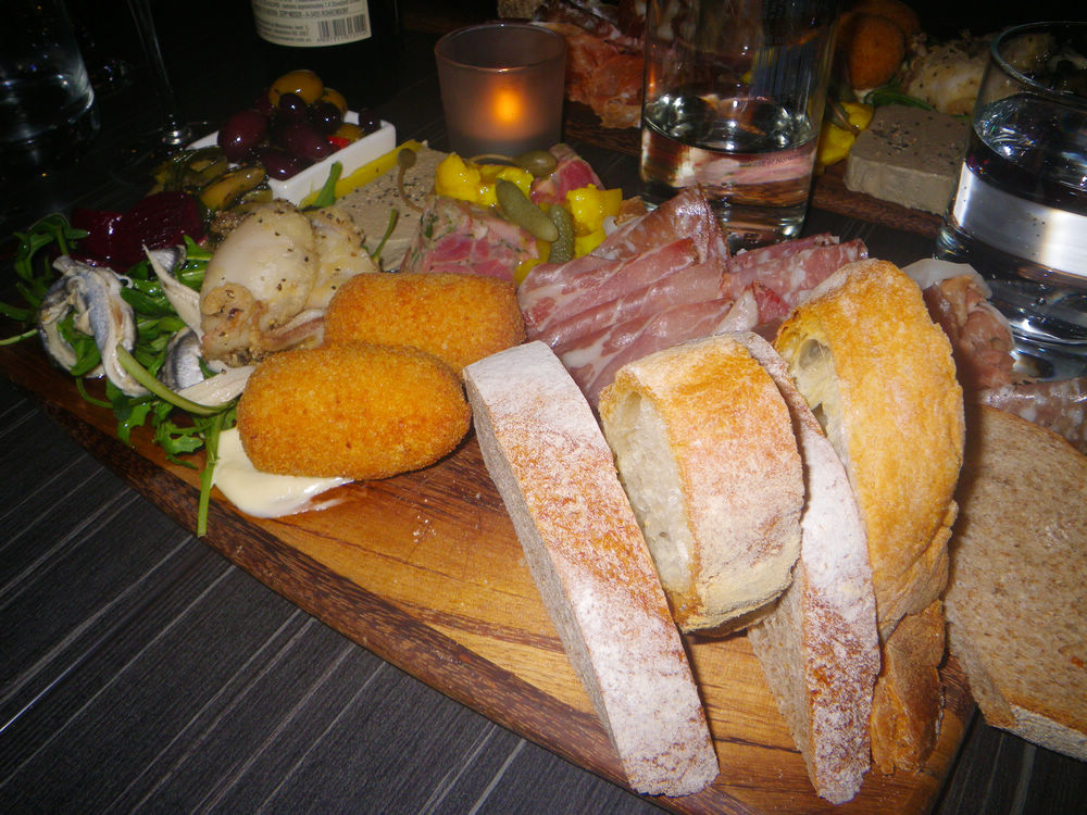 Chef's choice platter with cured meats and hors d'oeuvre of the day, served with grilled ciabatta, $39