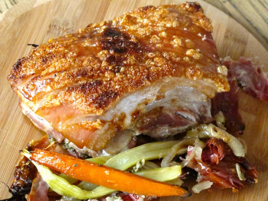 {Guest Post} Roast Pork Belly with Prosciutto and Sage with a Shaved Fennel and AppleSalad