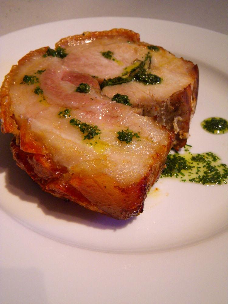 {Recipe} Crispy skin rolled pork loin with celery leavesstuffing