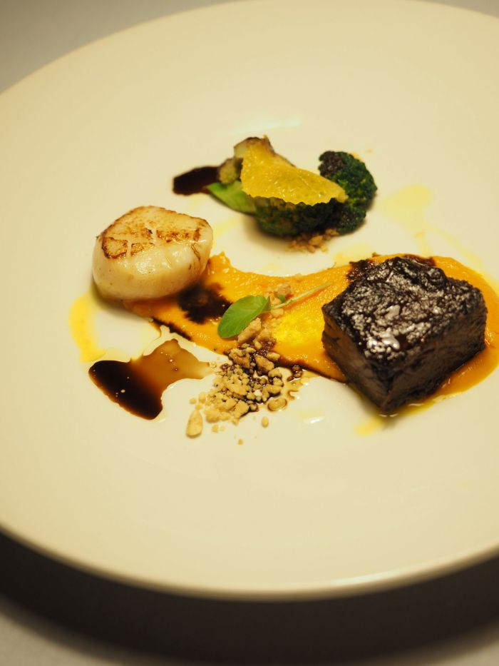 Fullblood Sher Wagyu Rib and Sea Scallop, carrot velvet, charred broccoli, orange, peanuts