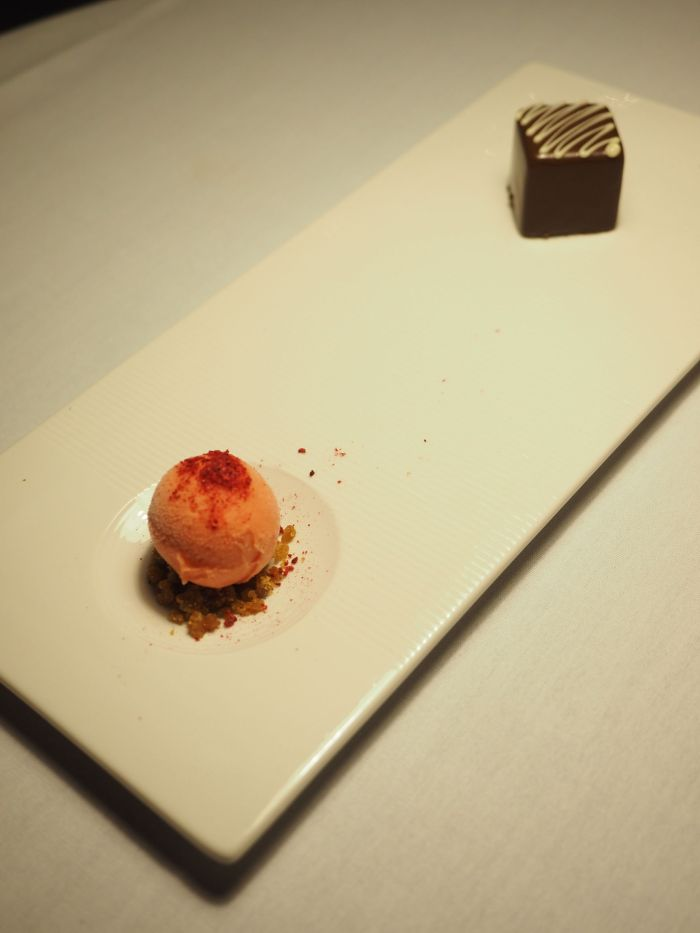 Belgian Chocolate and Hazelnut  Palet, brandy snap crumb, blood orange sorbet